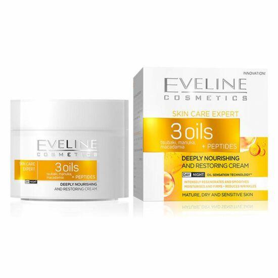 Eveline Cosmetics Skin Care Expert 3 Oils Mélyen Tápláló és Helyreállító Nappali és Éjszakai Arckrém 50 ml