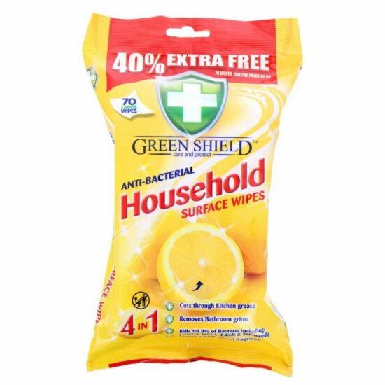Green Shield Antibakteriális Nedves Háztartási Tisztítókendő 70 db
