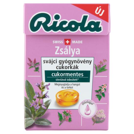 Ricola Zsálya Cukormentes Svájci Gyógynövény Cukorka 40 g