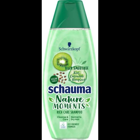 Schauma Nature Moments Hair Smoothie Gazdag Ápoló Sampon Kiwivel, Uborkával & Kendermaggal 250 ml